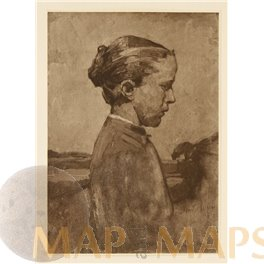 Girl In Sunlight, Art Print Ludwig Schmidt Reutte 1905