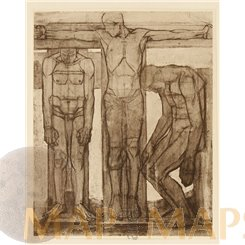 THE CRUCIFIXTION, DIE KREUZIGUNG, FINE ART PRINT, L. SCHMIDT REUTTE 1913