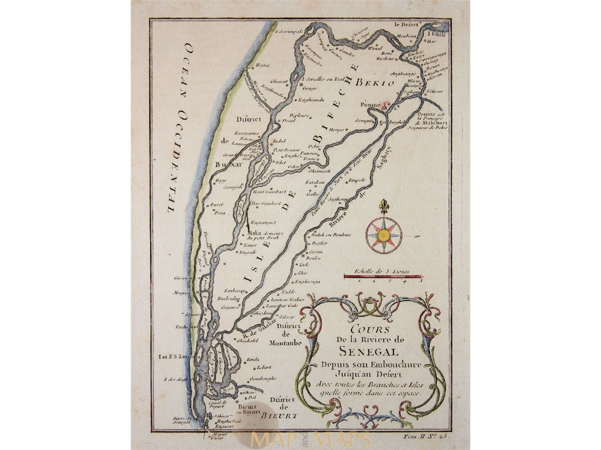 Senegal On Africa Map.Cours De La Riviere De Senegal Africa Map By Bellin 1764 Mapandmaps