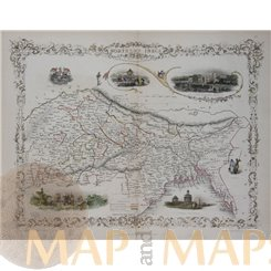 Delhi India Antique map NORTHERN INDIA Rapkin Tallis 1854