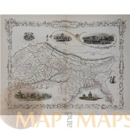 Northern India Old antique map Delhi Tallis 1851