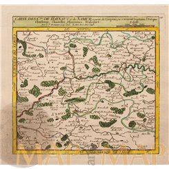 Belgium Hainaut, Charleroi antique map by Vaugondy 1748