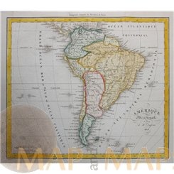 ANTIQUE MAP SOUTH AMERICA STEEL ENGRAVING DUFOUR 1828