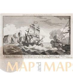 Fortification Nuestra Señora de la Soledåd, Antique print 1778