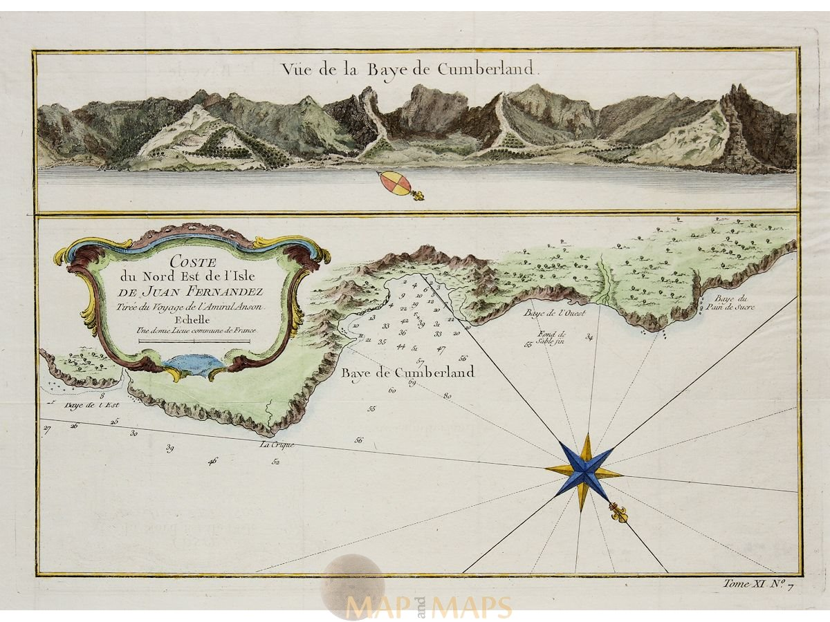 Chile antique map Vue de la Baye de Cumberland Bellin 1758