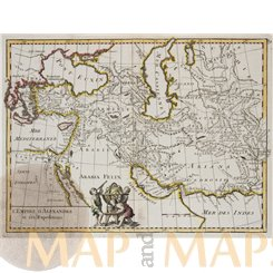 Antique map of the Middle East, Alexander King of Persia, by Le Rouge 1748