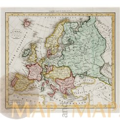 Europe antique old atlas map Dufour 1828