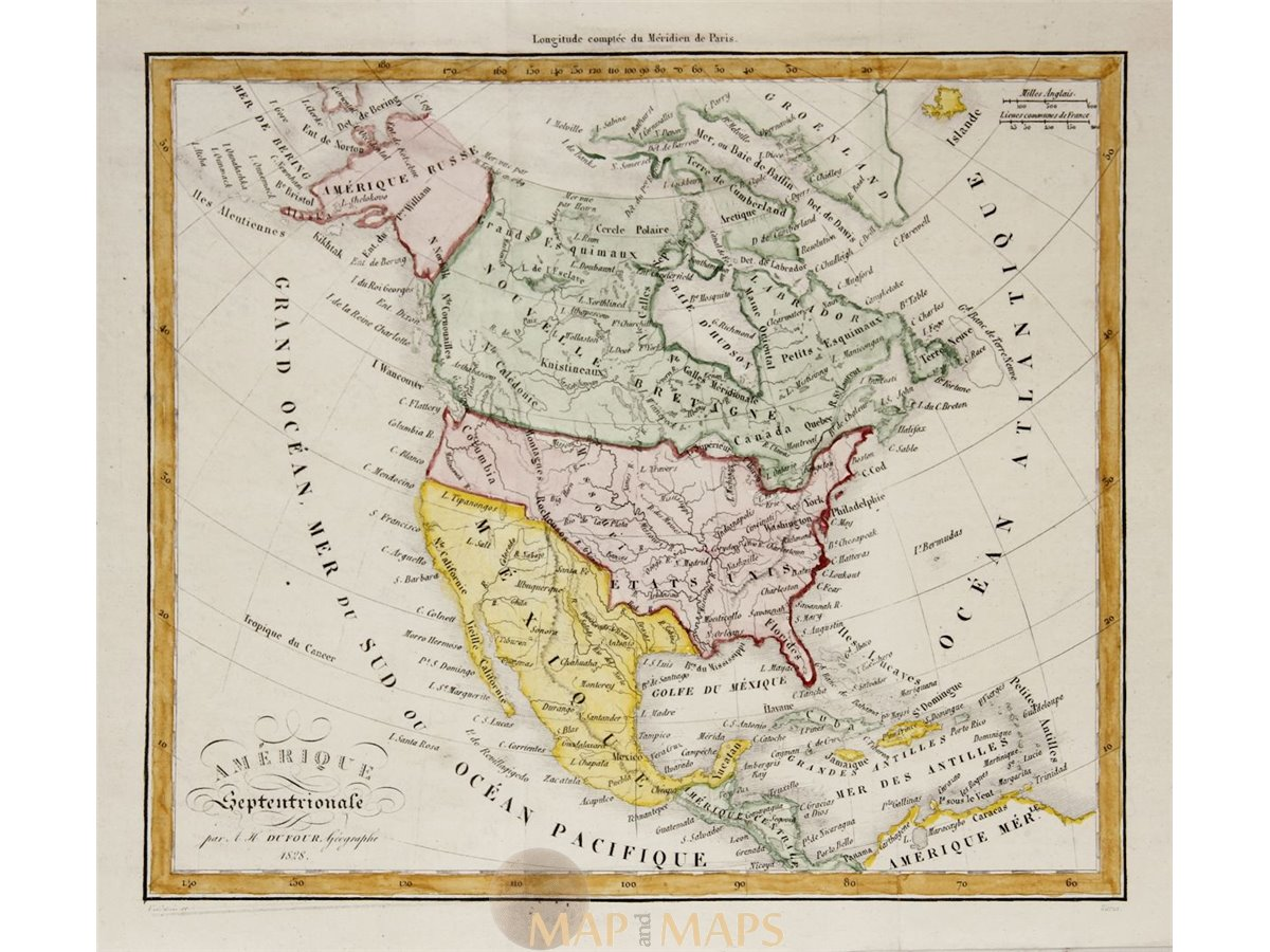 Antique Map Of North America.North America Old Antique Map Dufour 1828