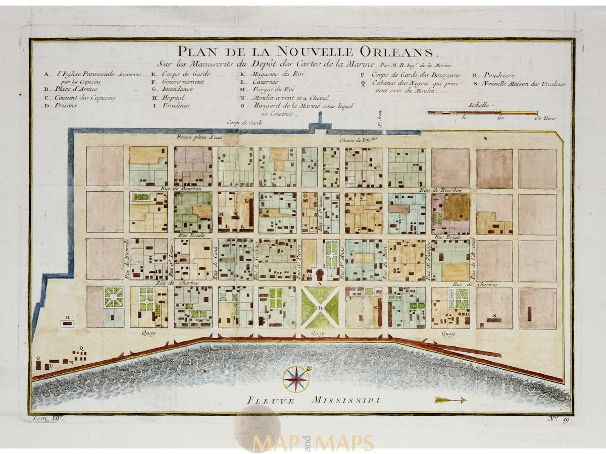 New Orleans Antique town plan French Quarter Bellin map 1764 ...