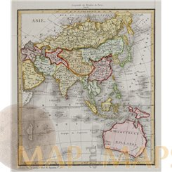 Asia antique map with Australia by Dufour 1828