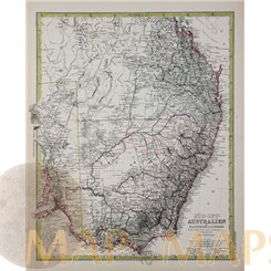 Australia South East antique map by Peterman 1883