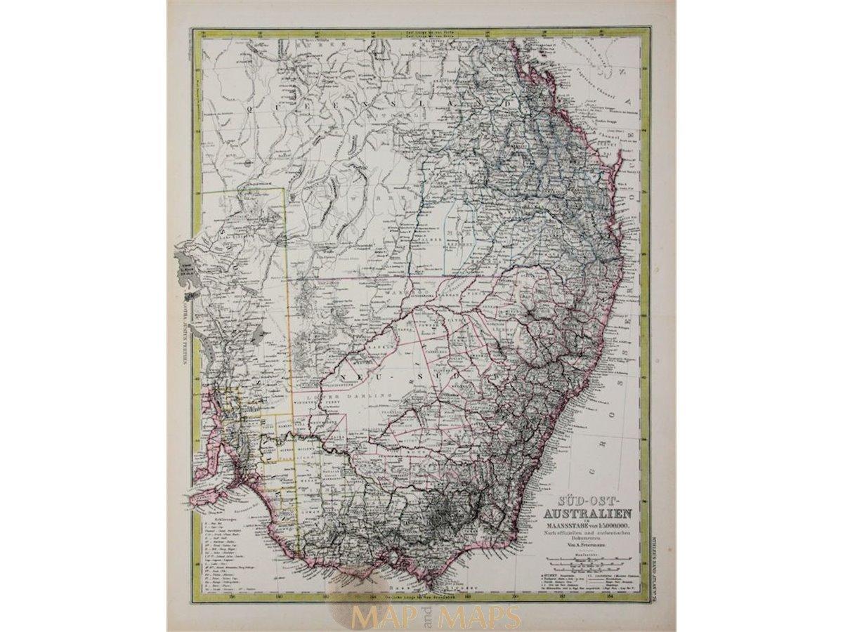 Australia South East antique map by Peterman 1883 - MapandMaps.com