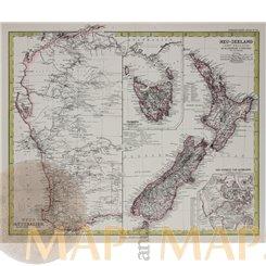 Australia New Zealand Tasmania antique map Petermann 1883