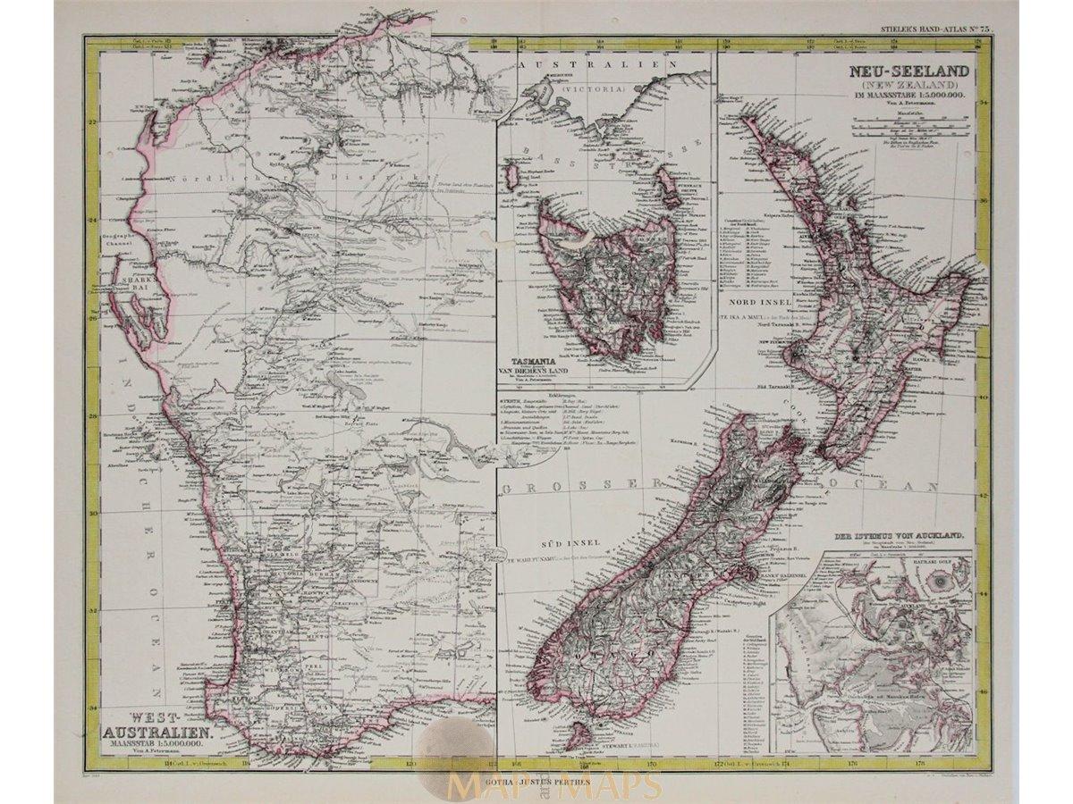 Map Of New Zealand Australia.Australia New Zealand Tasmania Antique Map Peterman 1883