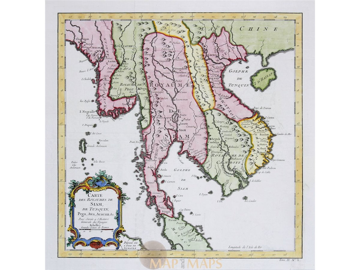 Southeast Asia Thailand Vietnam Cambodia old map Bellin 1747 ...
