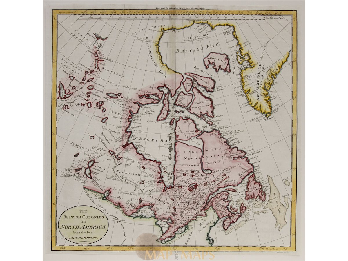 Canada Old Map British Colonies In North America Guthrie Mapandmaps