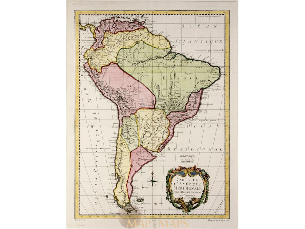 Old map South America, L\'Amérique Meridionale, Bellin map 1757
