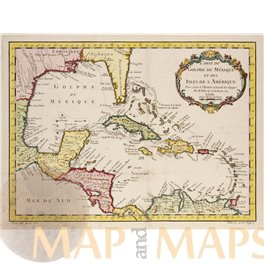 Gulf of Mexico Old map Golphe Du Mexique Bellin map 1754
