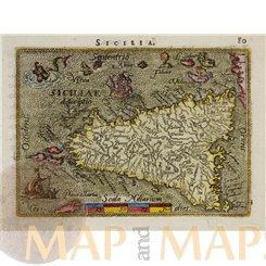 Italy antique old map Sicilia by Ortelius 1590