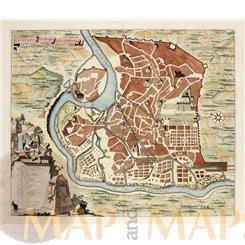 Tivoli Italy Old plan, Civitatis Tyburis Delineatio. Stoopendaal 1729