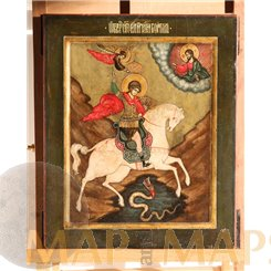Old St. George Icon antique Saint George and the Dragon 19th century.