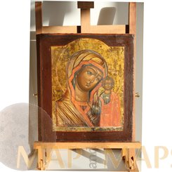 Virgin Hodegetria, Old Antique Russian Icon 19th century.