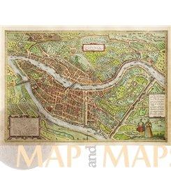 Lugdunum (Lyon) Historic town map by Braun & Hogenberg 1572