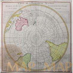 Carte de L'Hemisphere Austral.World map by Belln 1778