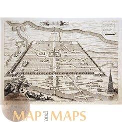 Niniveh capital Assyria Old print Iraq stad Ninive Calmet 1725