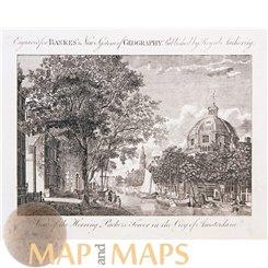 Haringpakkerstoren Amsterdam. Old print Bankers 1787