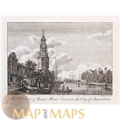 Montalbans Tower Amsterdam Old print Bankers 1787