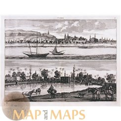 Cairo old print Egypt by De Bruyn 1698
