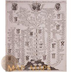 Carte Genealogique de la Maison d'Autriche old map Chatelain 1719