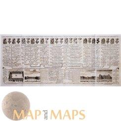 Carte généalogique de la maison de Valois old map Chatelain 1719