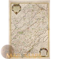 Le Comté de Bourgonne ou La Franche Old map Jaillot 1692