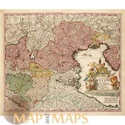 Dominii Veneti Cum vicinis Parmae Old map Venice Homann 1720