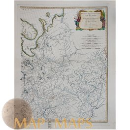 LARGE MAP, RUSSIA IN EUROPE, WOLGA RIVER, by D'ANVILLE