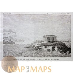 Temple of Poseidon on Cape Sounion-Plato Greece Old Print Barbie 1785