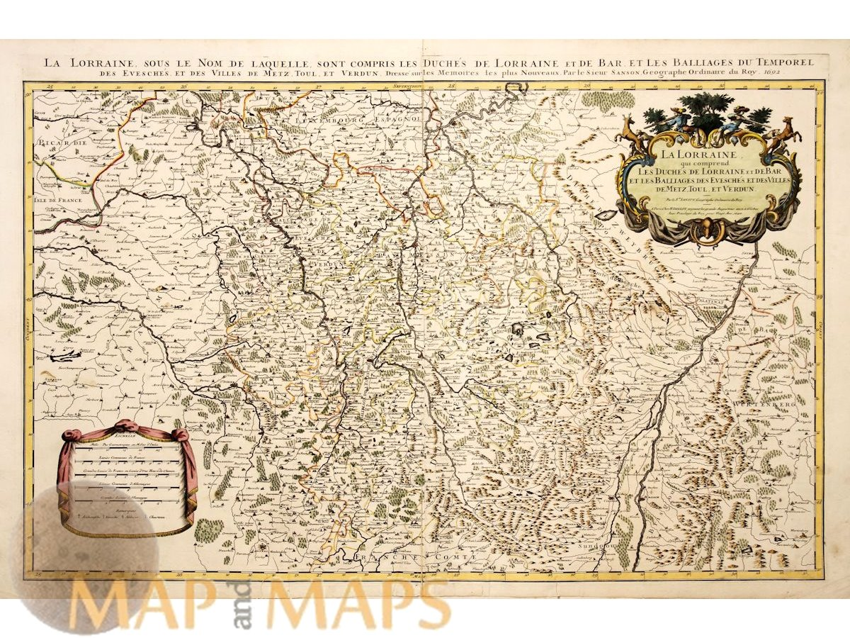 Old Map Of France.Details About La Lorraine Old Map France Luxenbourg By Jaillot 1692