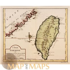 Taiwan old map L'Isle Formose et parties des costes Bellin 1754