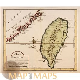 Taiwan old map L'Isle Formose et parties des costes Bellin 1754