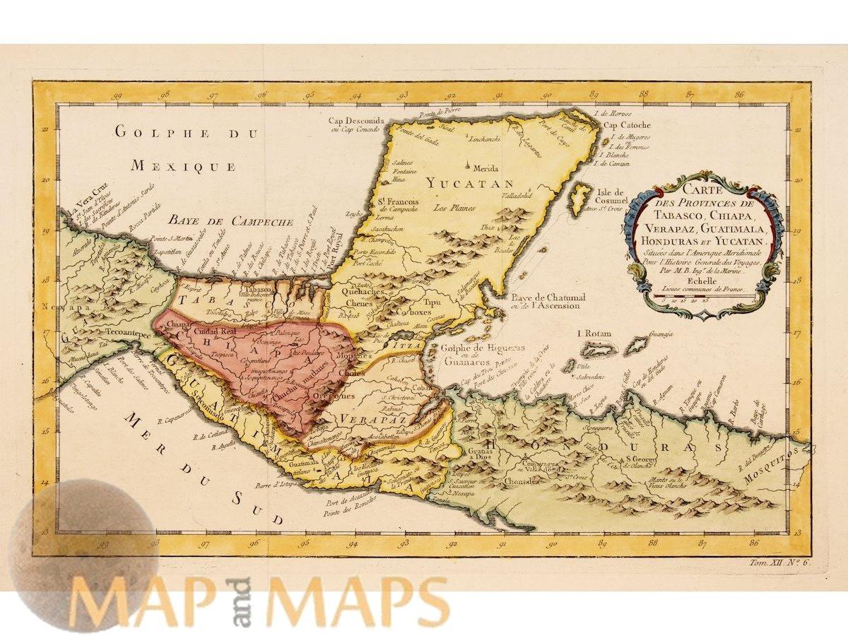 Mexico and Central America old map Carte des provinces des Tabasco Bellin  1758
