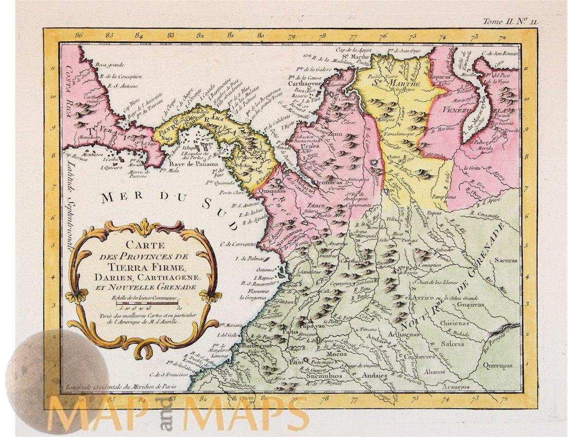Carte Tierra Firme Darien Cartagene Old map Panama Columbia Bellin 1756