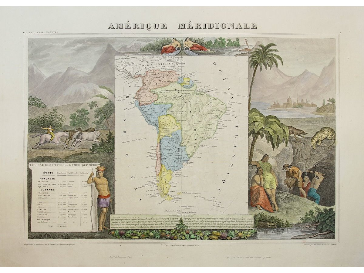 Amerique Meridionale Old map South America Map Levasseur 1859