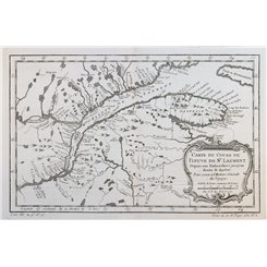 Canada map. Cours Du Fleuve De St. Laurent by Bellin 1757