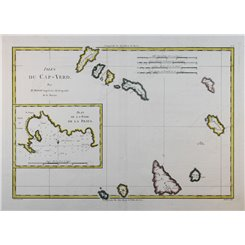 Cape Verde Islands Old map Cabo Verde islands by Bonne 1780