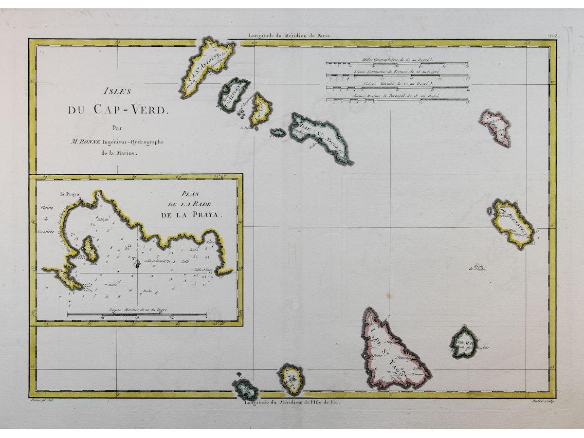 Cape Verde Islands Old map Cabo Verde islands by Bonne 1780
