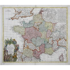 France map. Le Royaume De France Fait conforme… Seutter 1740