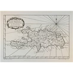 Caribbean map. Hispaniola L'Isle de Saint Domingue Bellin 1754.