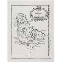 West Indies map. Barbados, Carte de l'Isle de la Barbade Bellin 1754.